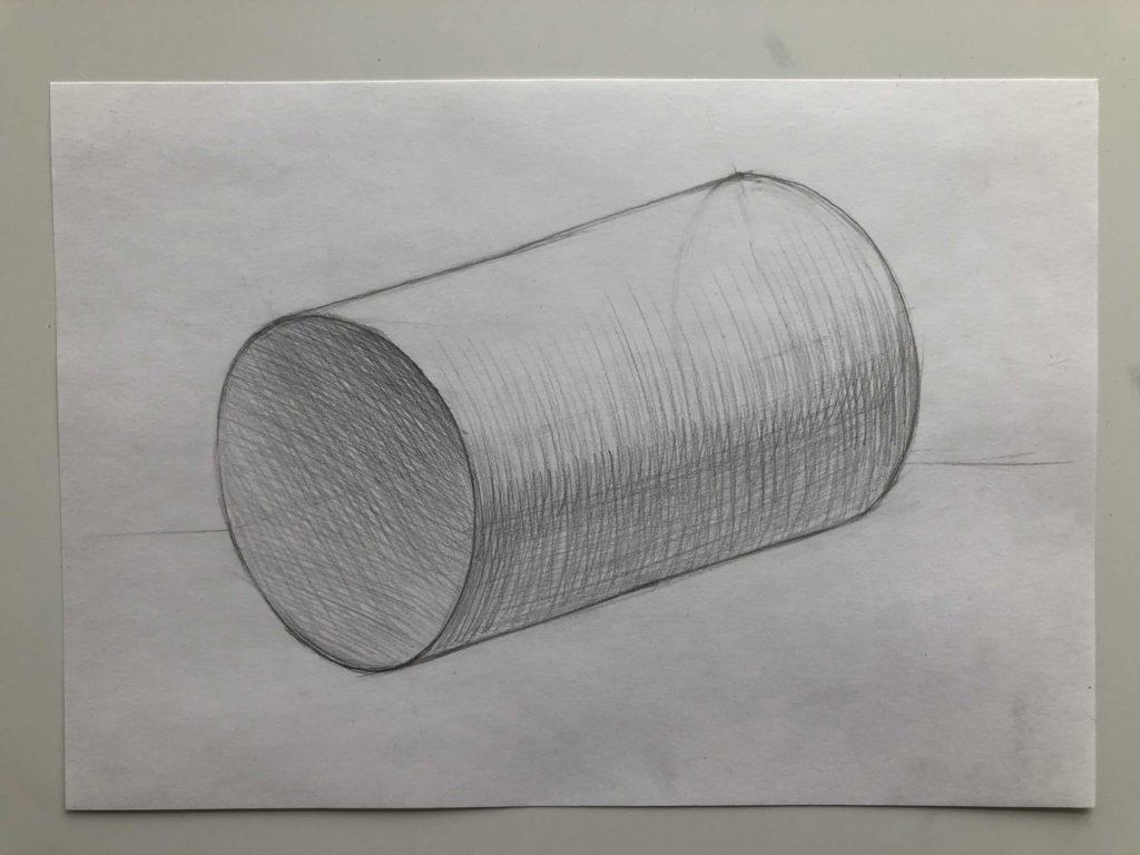 Как нарисовать цилиндр карандашом поэтапно - 4 этап лежачий цилиндр - фото