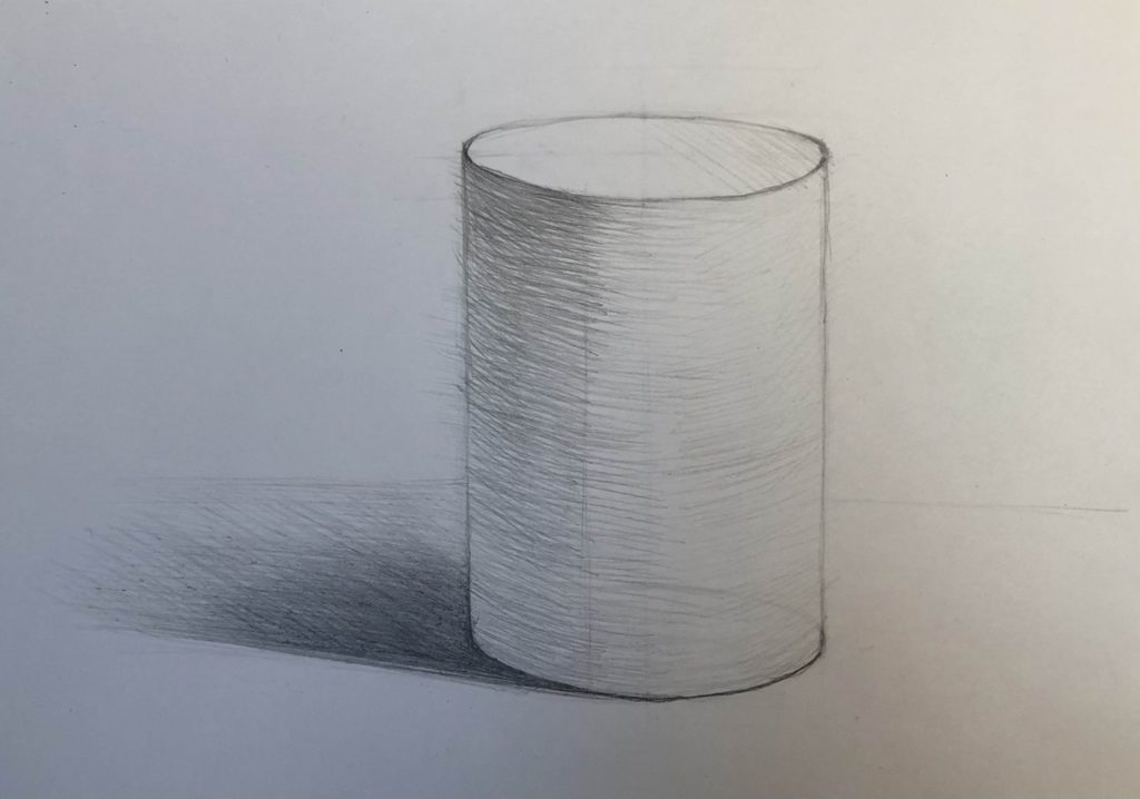 Как нарисовать цилиндр карандашом поэтапно - 4 этап цилиндр - фото