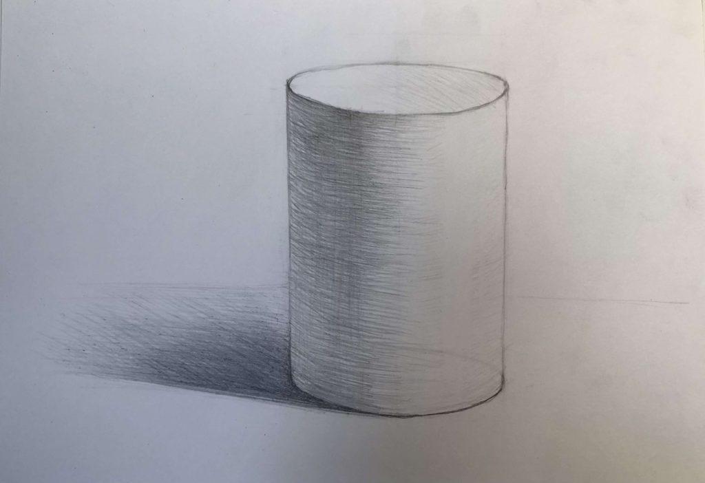 Как нарисовать цилиндр карандашом поэтапно - 5 этап цилиндр - фото