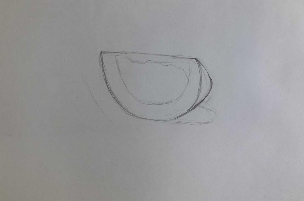 Как поэтапно нарисовать карандашом томат - долька 1 этап - фото
