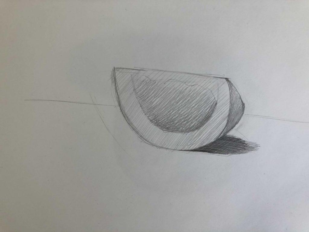Как поэтапно нарисовать карандашом томат - долька 2 этап - фото