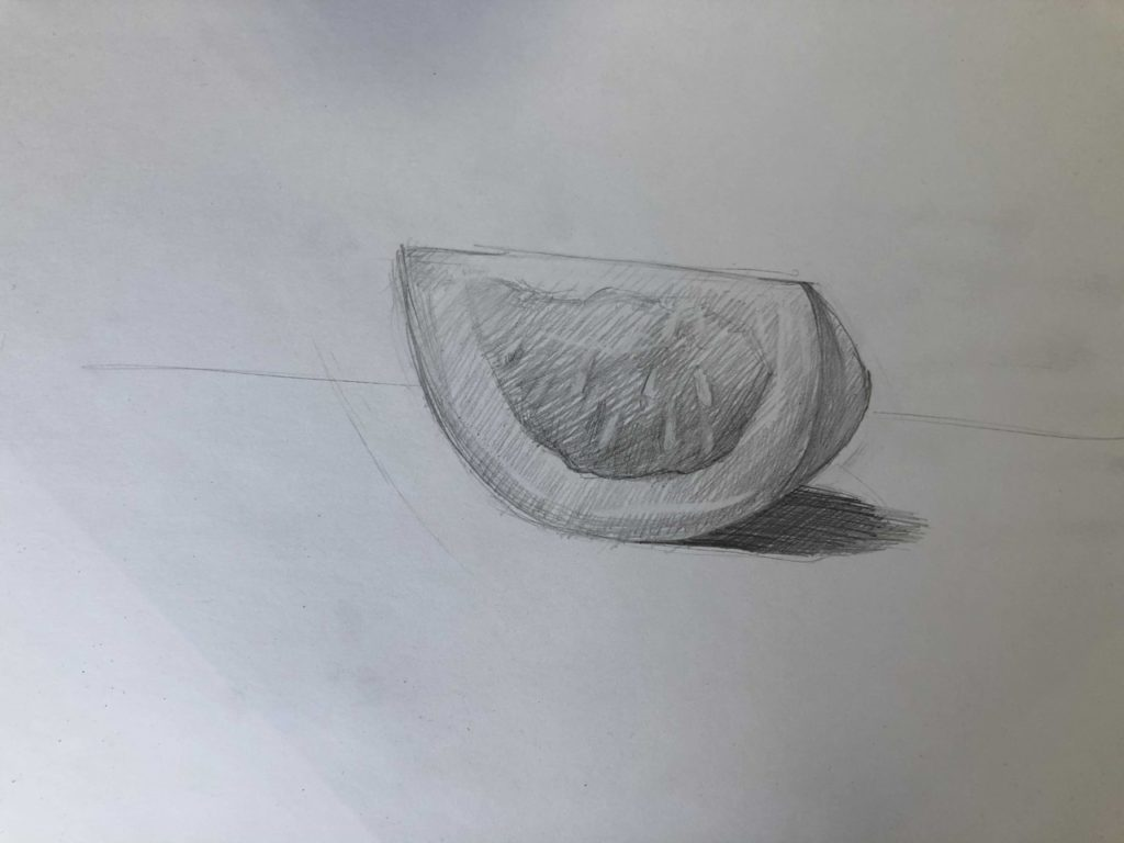 Как поэтапно нарисовать карандашом томат - долька 3 этап - фото