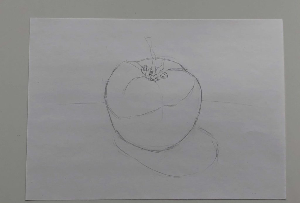 Как поэтапно нарисовать карандашом томат - простой помидор 1 этап - фото