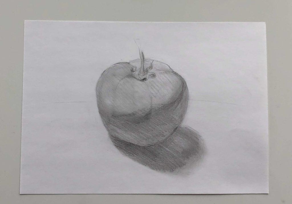 Как поэтапно нарисовать карандашом томат - простой помидор 2 этап - фото