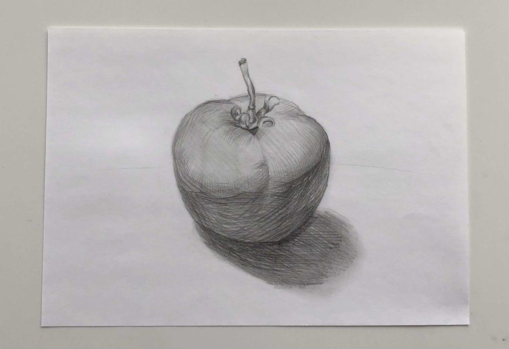 Как поэтапно нарисовать карандашом томат - простой помидор 3 этап - фото