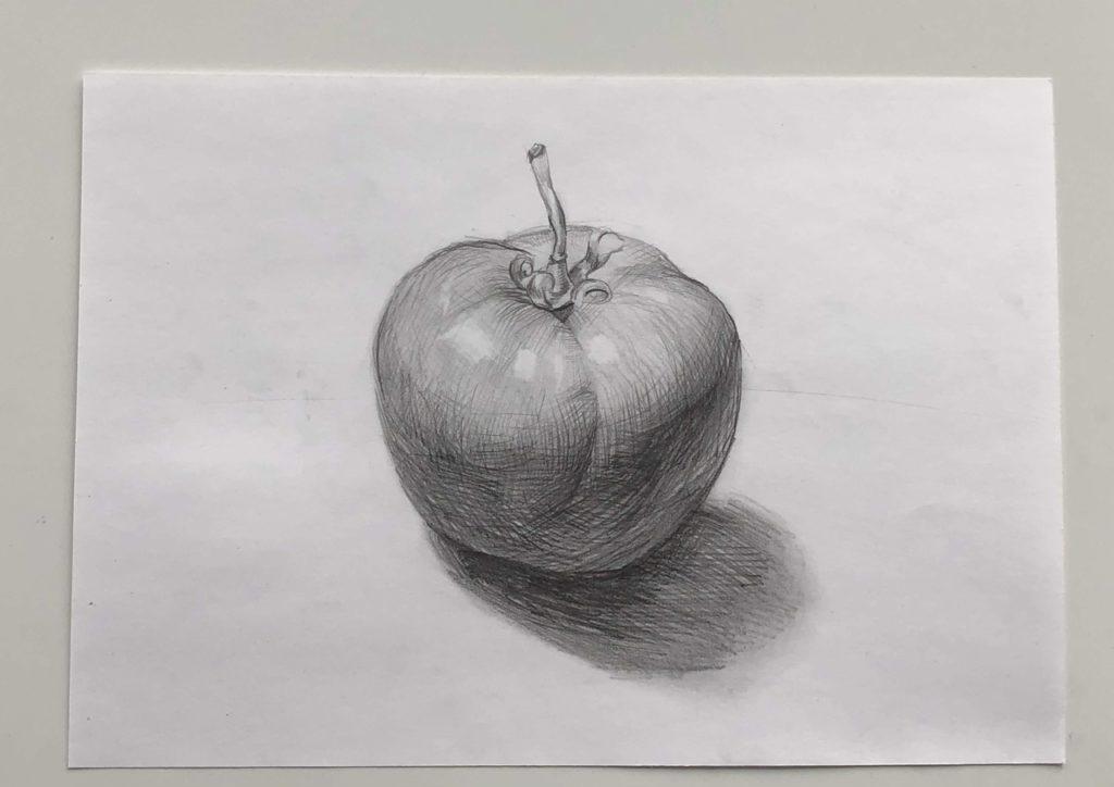 Как поэтапно нарисовать карандашом томат - простой помидор 4 этап - фото