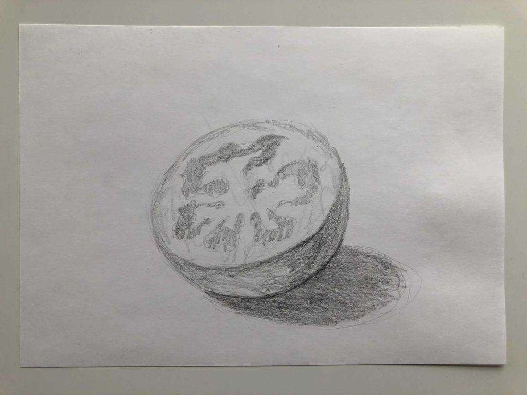 Как поэтапно нарисовать карандашом томат - в разрезе 2 этап - фото