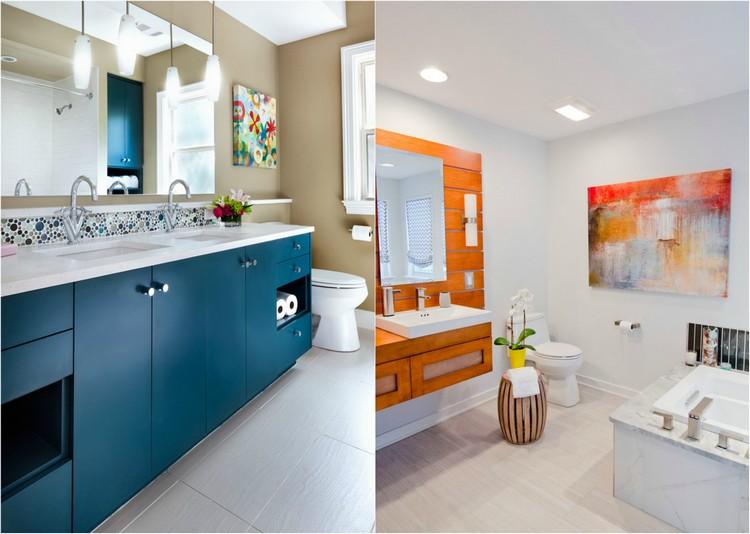 Картины для оформления ванной и туалета - цветовая гамма картины - фото