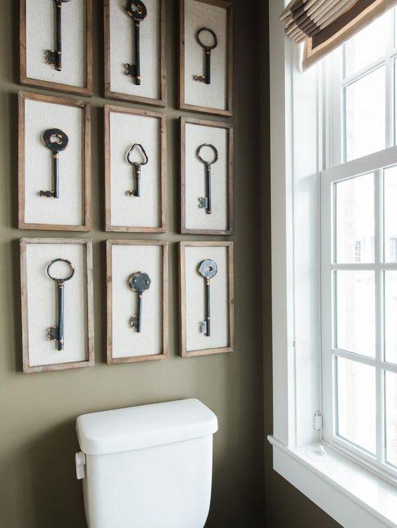 Картины для оформления ванной и туалета - ключи в рамках - фото
