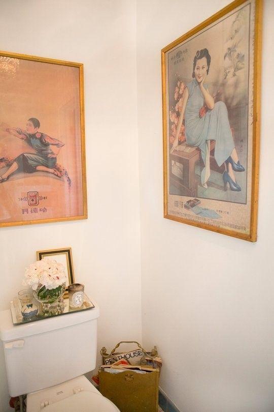 Картины для оформления ванной и туалета - старые постеры - фото