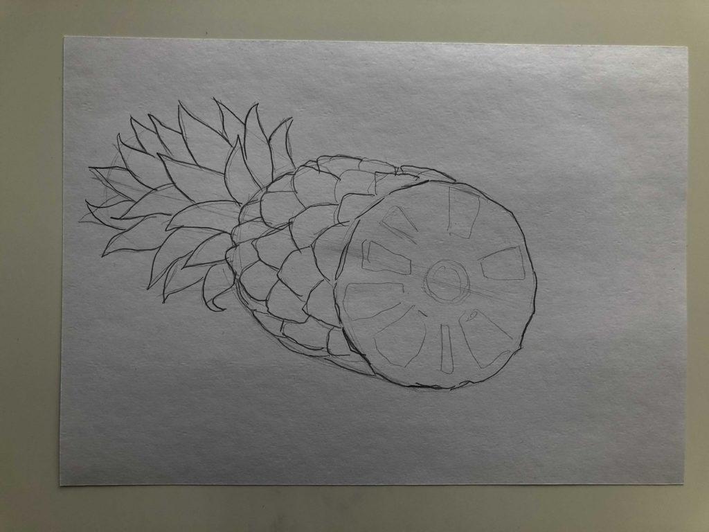 Как нарисовать ананас карандашом поэтапно - ананас в разрезе 2 этап - фото