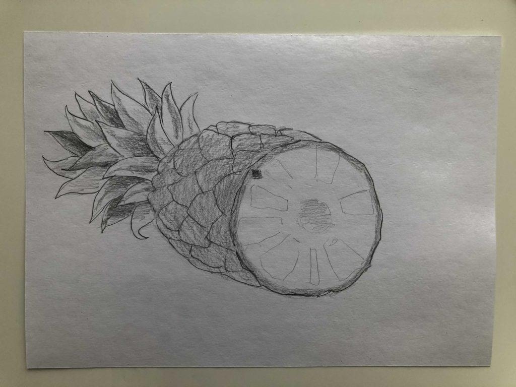 Как нарисовать ананас карандашом поэтапно - ананас в разрезе 3 этап - фото