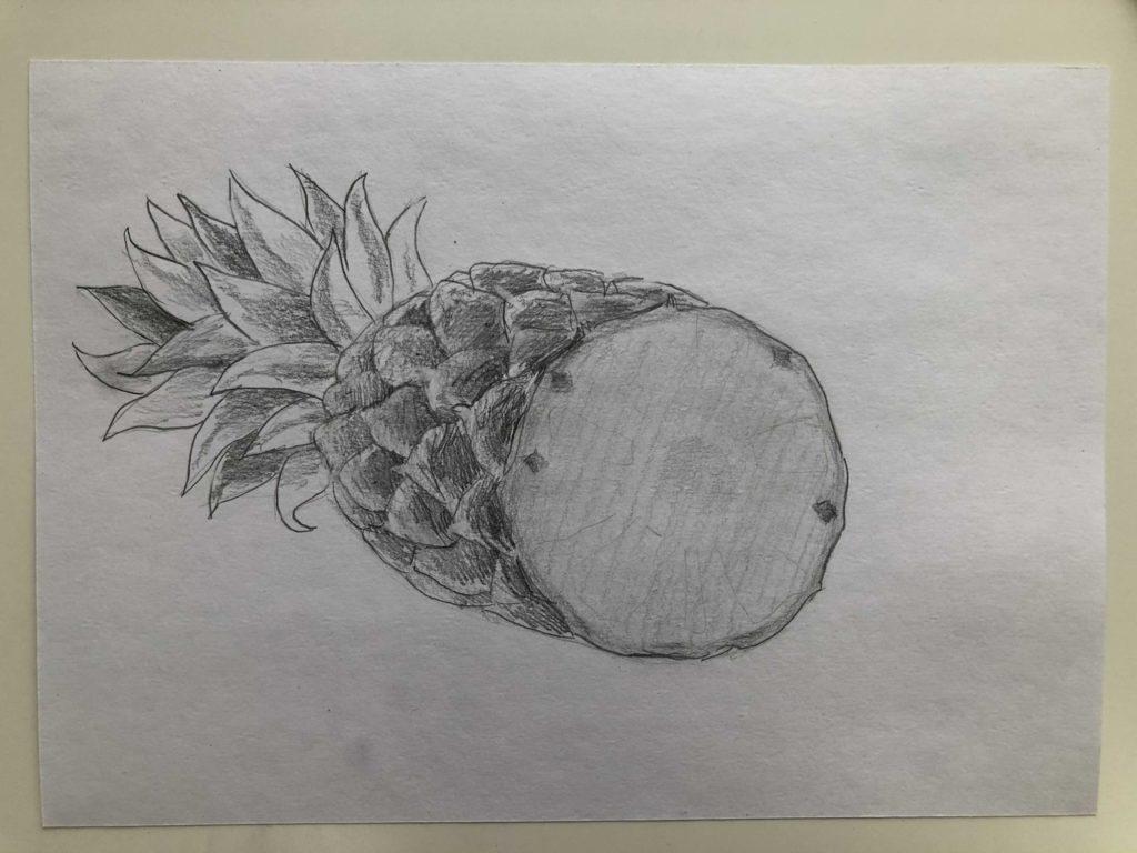 Как нарисовать ананас карандашом поэтапно - ананас в разрезе 4 этап - фото