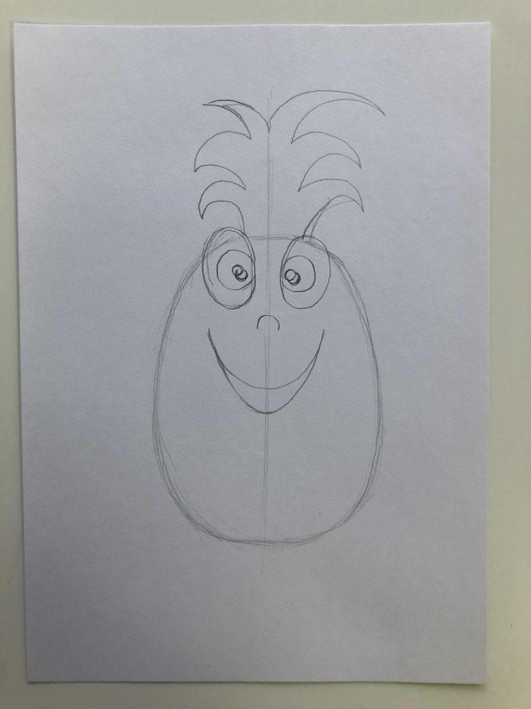 Как нарисовать ананас карандашом поэтапно - мультяшный 1 этап - фото