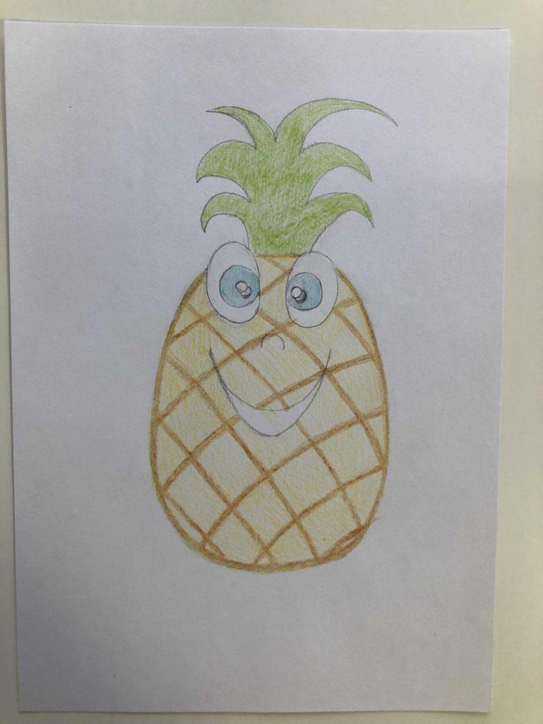 Как нарисовать ананас карандашом поэтапно - мультяшный 2 этап - фото