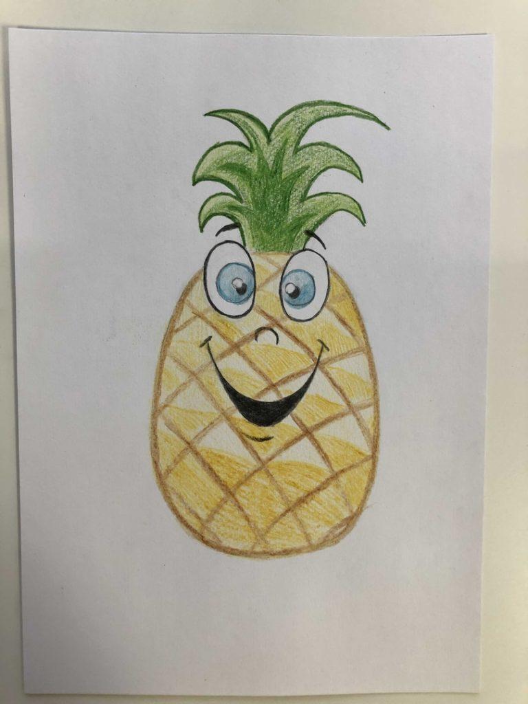 Как нарисовать ананас карандашом поэтапно - мультяшный 3 этап - фото