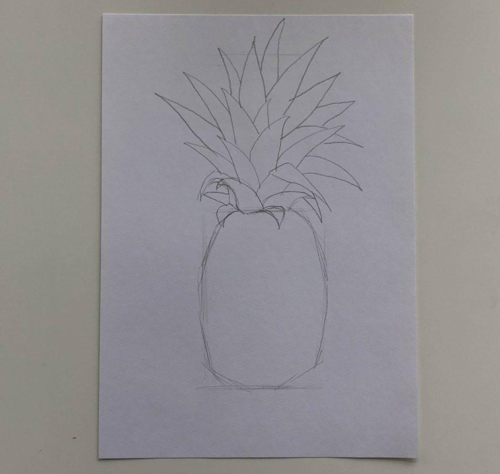 Как нарисовать ананас карандашом поэтапно - простой ананас 1 этап - фото