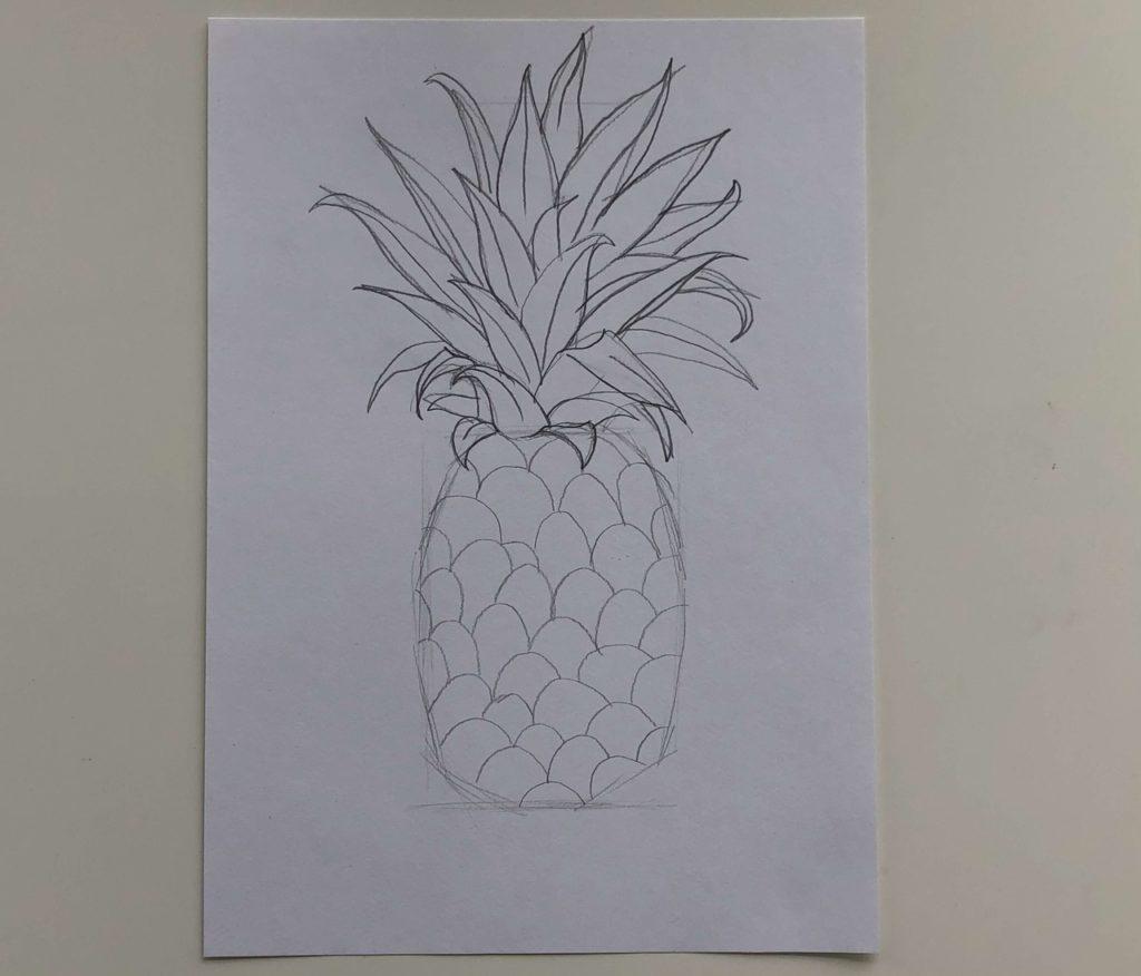 Как нарисовать ананас карандашом поэтапно - простой ананас 2 этап - фото