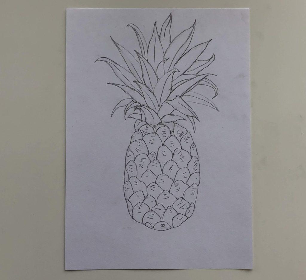 Как нарисовать ананас карандашом поэтапно - простой ананас 3 этап - фото