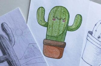 Как нарисовать кактус карандашом поэтапно - фото