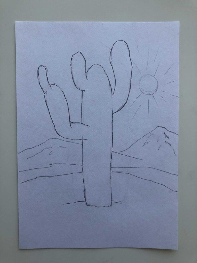 Как нарисовать кактус карандашом поэтапно - кактус в пустыне 2 этап - фото