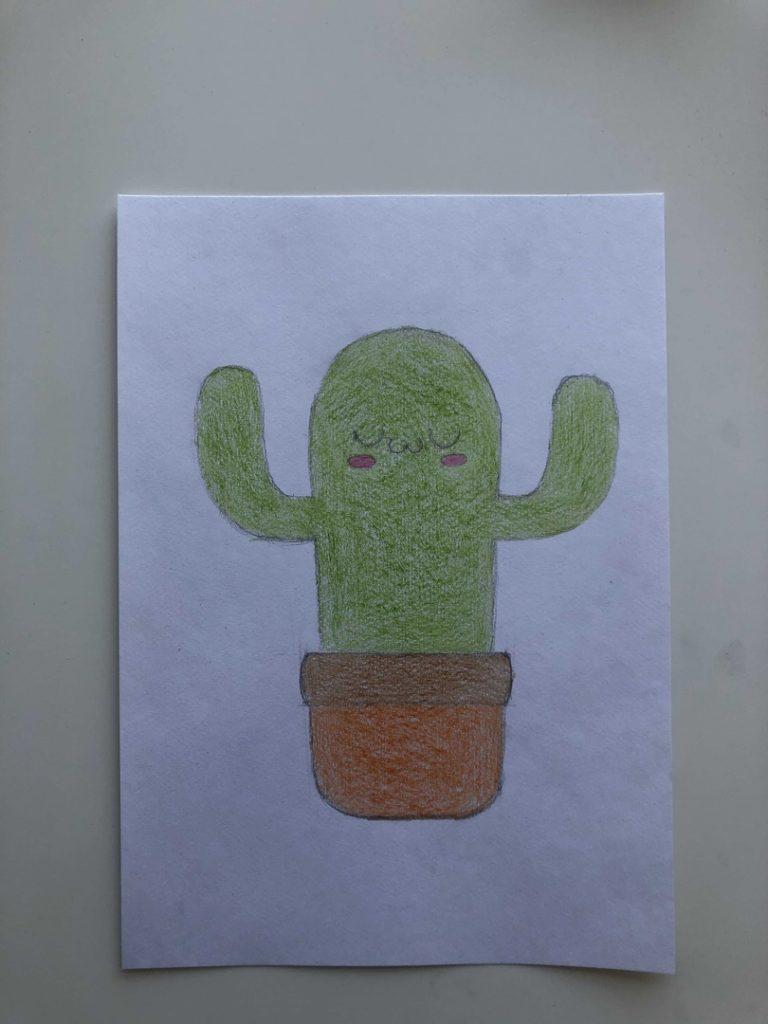 Как нарисовать кактус карандашом поэтапно - мультяшный 3 этап - фото