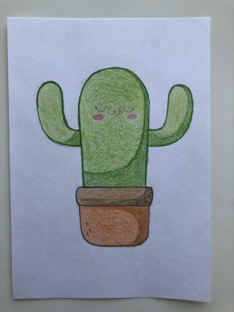 Как нарисовать кактус карандашом поэтапно - мультяшный 4 этап - фото