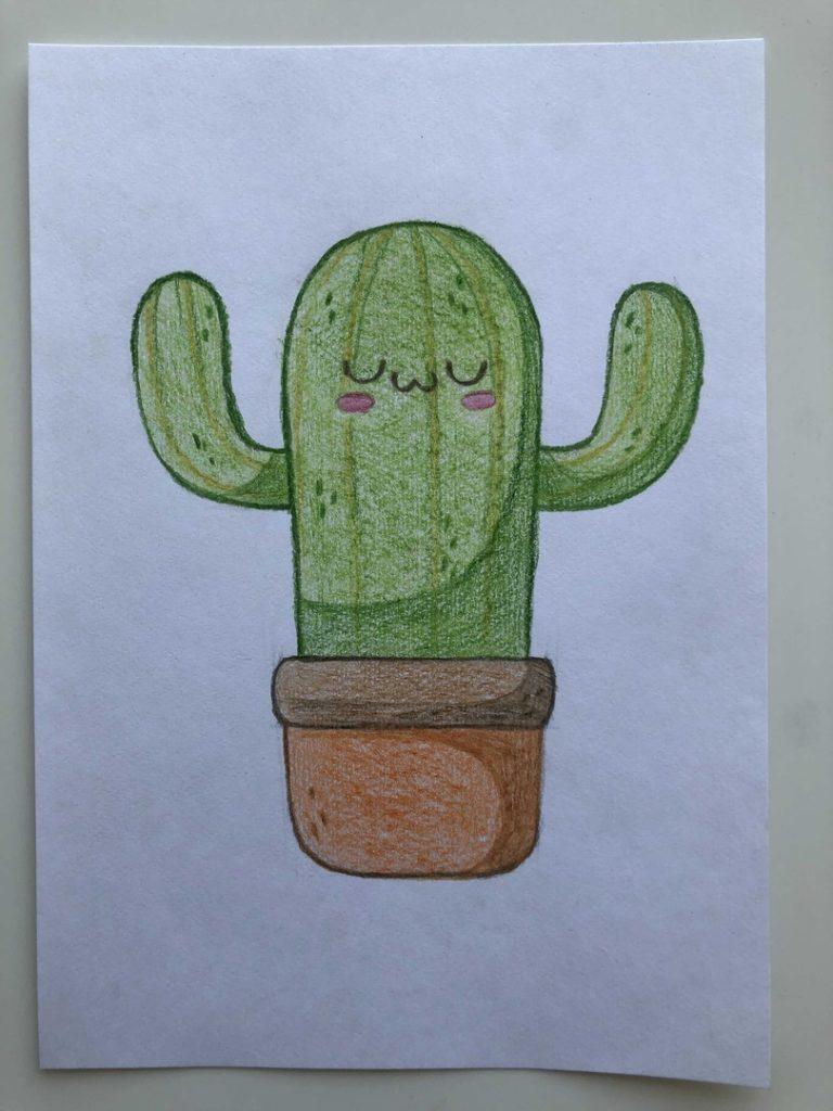 Как нарисовать кактус карандашом поэтапно - мультяшный 5 этап - фото