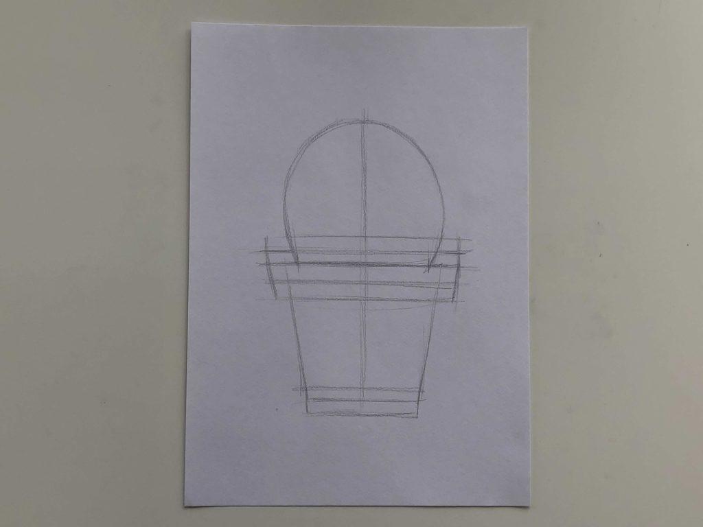 Как нарисовать кактус карандашом поэтапно - простой кактус 1 этап - фото