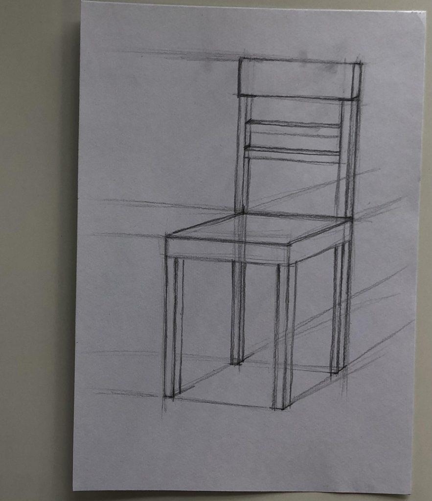 Как поэтапно нарисовать карандашом стул - 2 этап - фото
