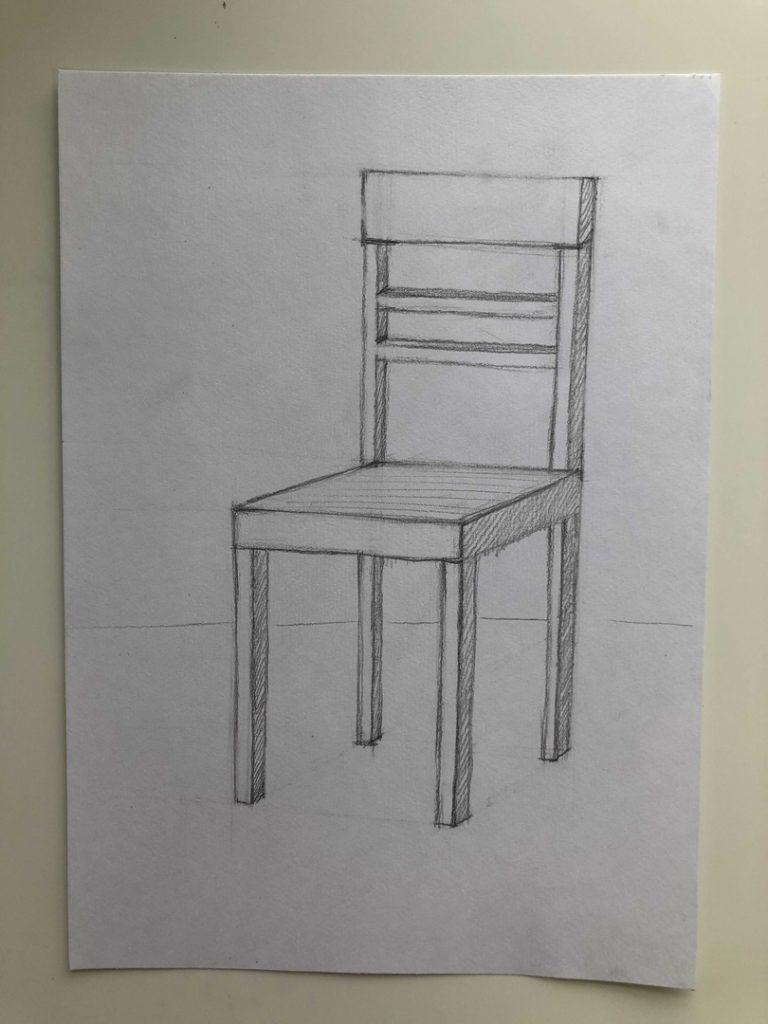 Как поэтапно нарисовать карандашом стул - 3 этап