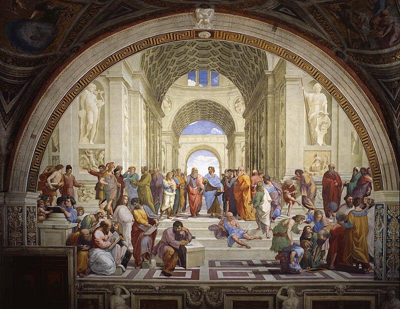Картины Рафаэля Санти - Афинская школа, фреска - фото