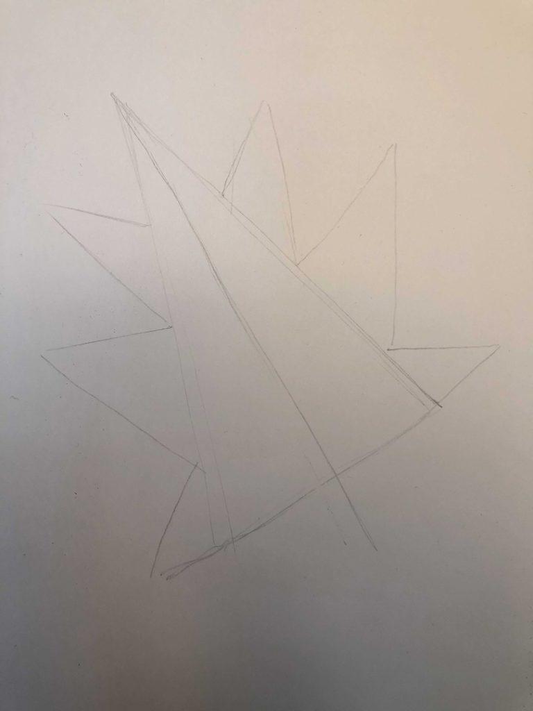 Листик клена рисунок карандашом - продвинутый лист 1 этап - фото