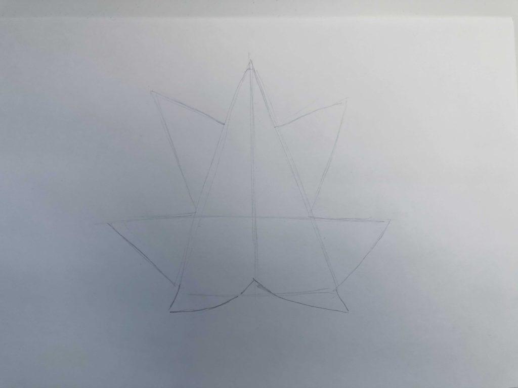 Листик клена рисунок карандашом - простой лист 1 этап - фото