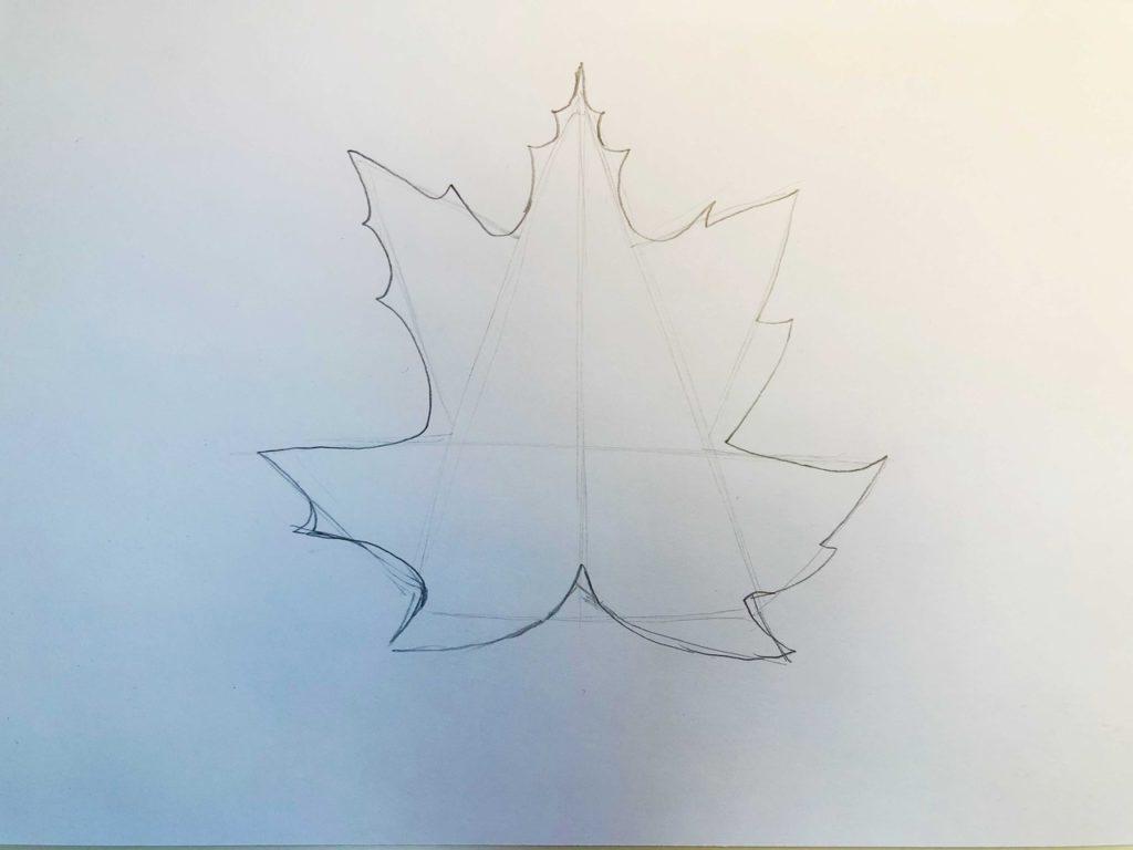 Листик клена рисунок карандашом - простой лист 2 этап - фото