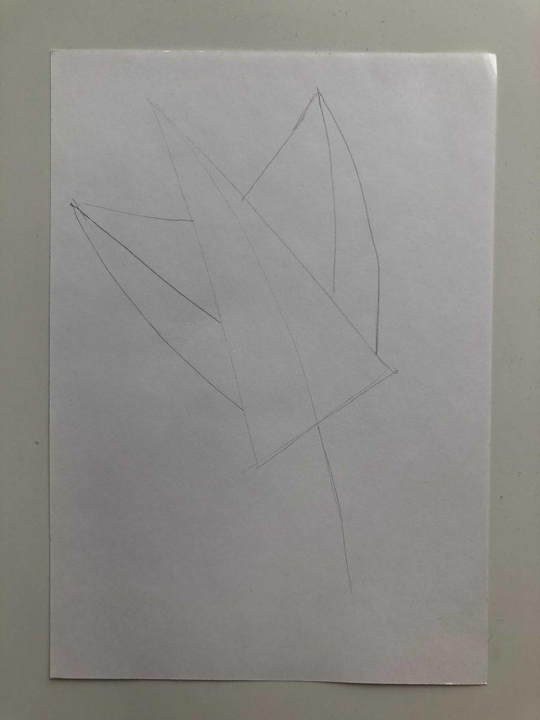 Листик клена рисунок карандашом - цветной лист 1 этап - фото
