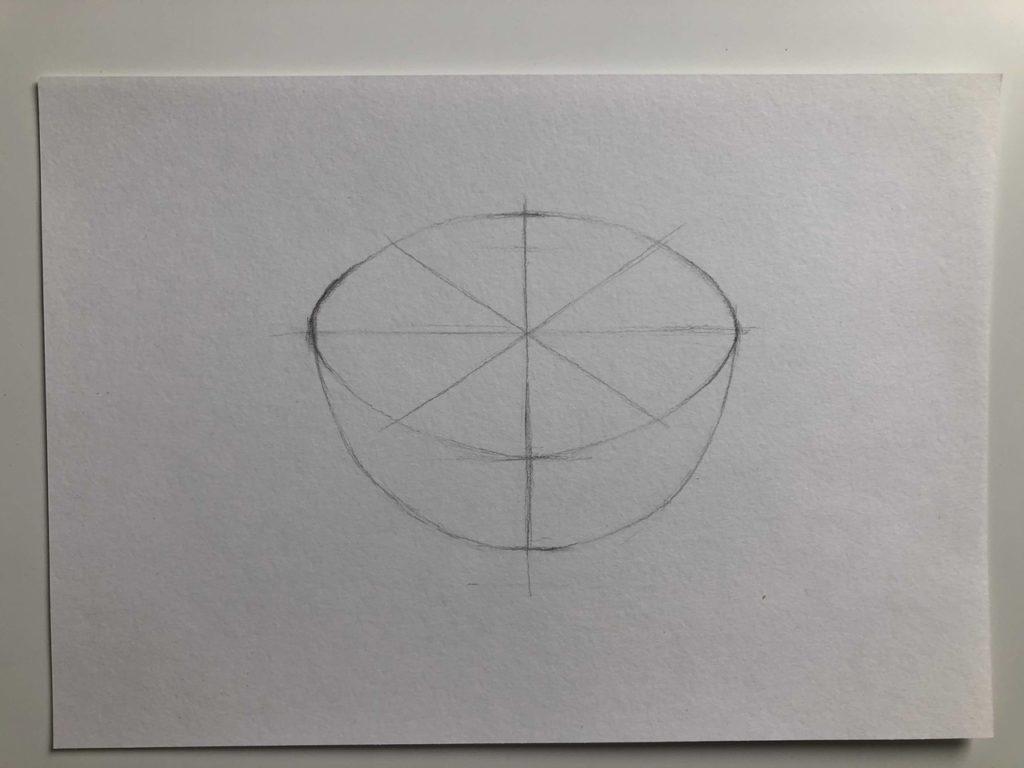 Как нарисовать апельсин карандашом поэтапно - апельсин в разрезе 2 этап - фото