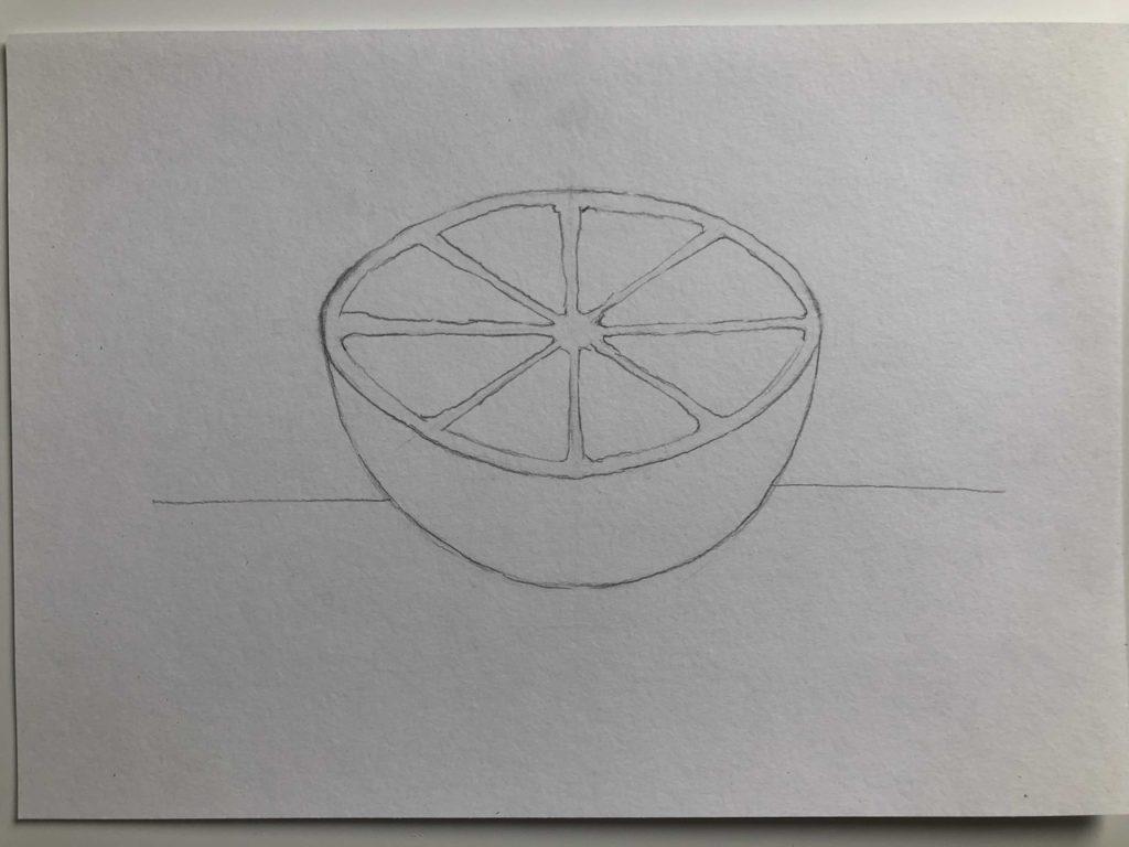 Как нарисовать апельсин карандашом поэтапно - апельсин в разрезе 3 этап - фото