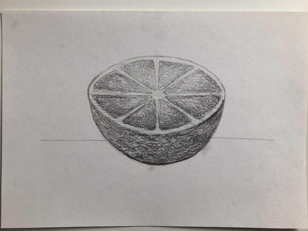 Как нарисовать апельсин карандашом поэтапно - апельсин в разрезе 4 этап - фото