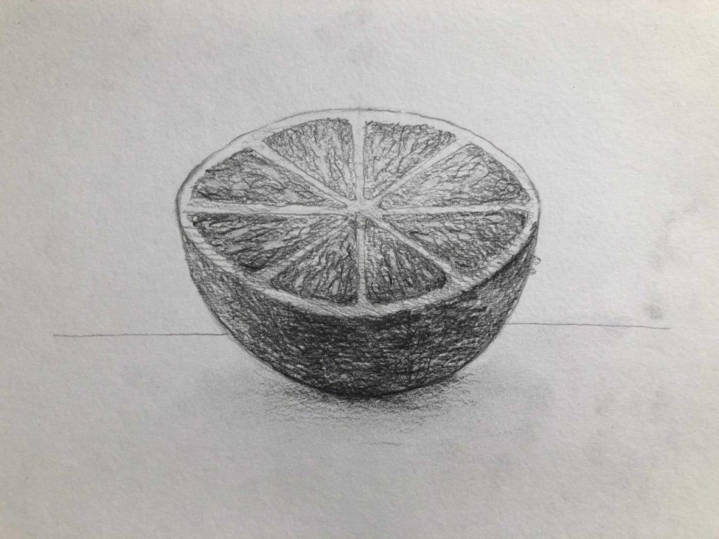 Как нарисовать апельсин карандашом поэтапно - апельсин в разрезе 5 этап - фото