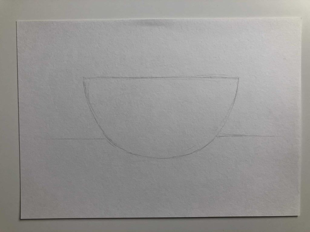 Как нарисовать апельсин карандашом поэтапно - половинка апельсина 1 этап - фото