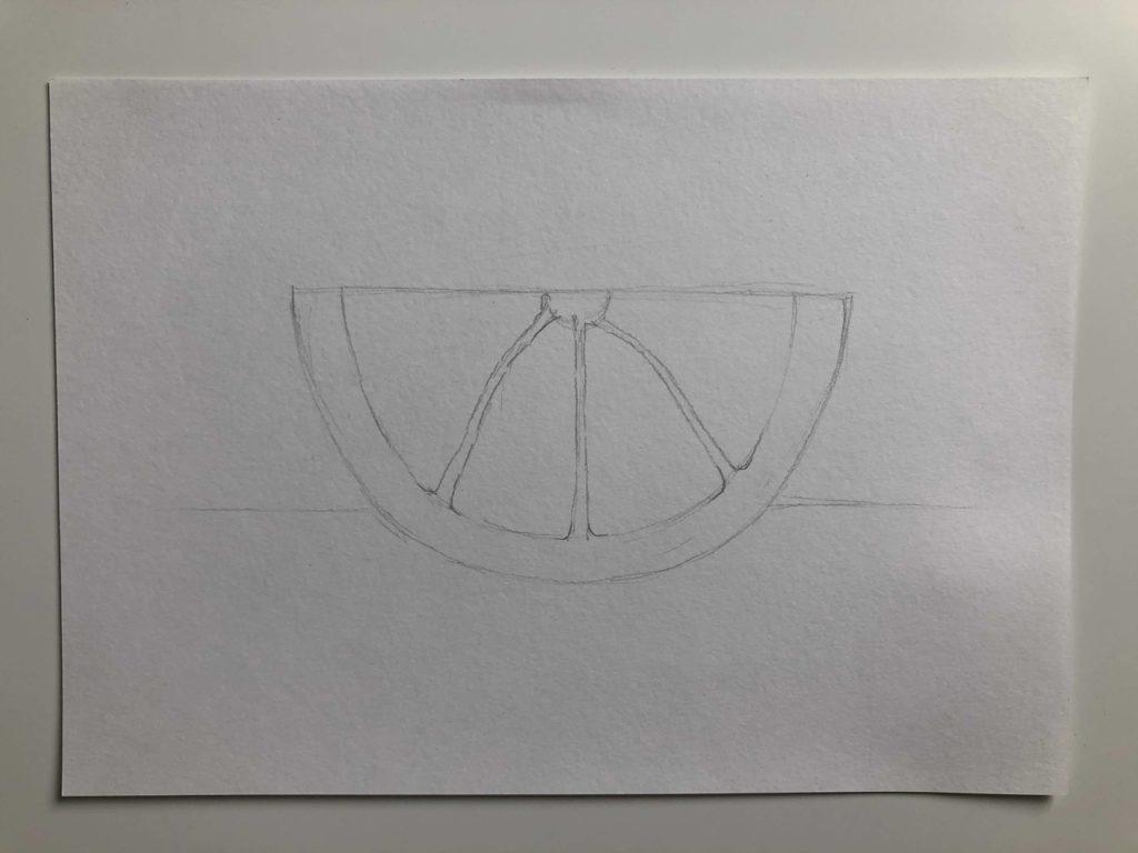 Как нарисовать апельсин карандашом поэтапно - половинка апельсина 2 этап - фото