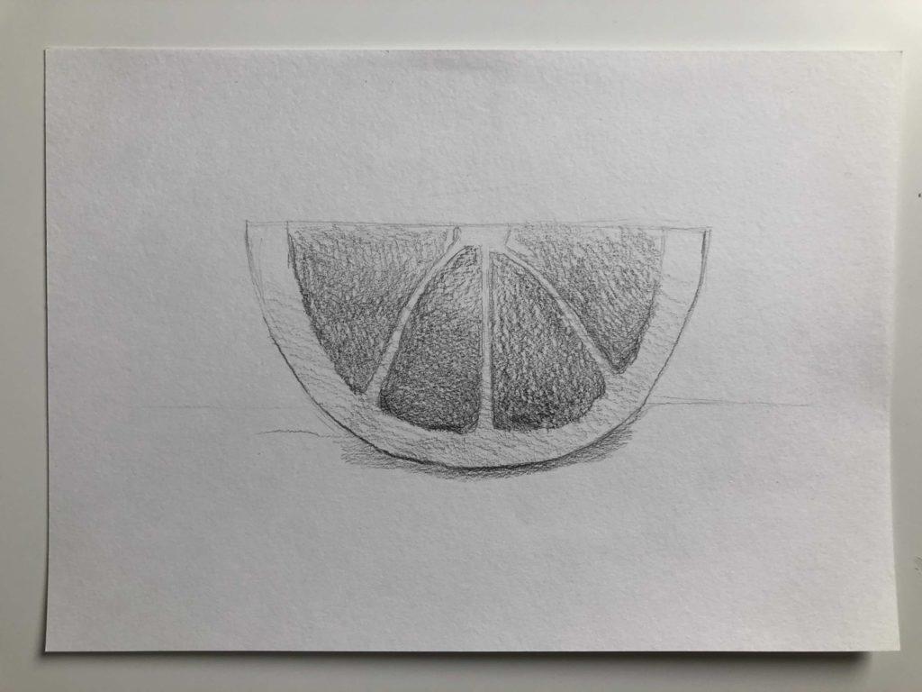 Как нарисовать апельсин карандашом поэтапно - половинка апельсина 3 этап - фото