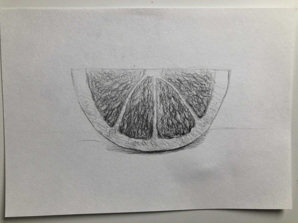 Как нарисовать апельсин карандашом поэтапно - половинка апельсина 4 этап - фото