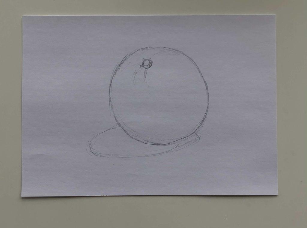 Как нарисовать апельсин карандашом поэтапно - простой апельсин 1 этап - фото