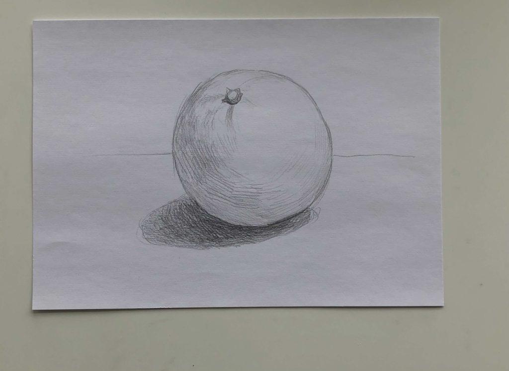 Как нарисовать апельсин карандашом поэтапно - простой апельсин 2 этап - фото