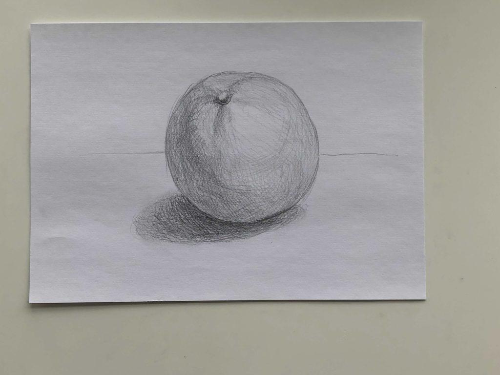 Как нарисовать апельсин карандашом поэтапно - простой апельсин 3 этап - фото
