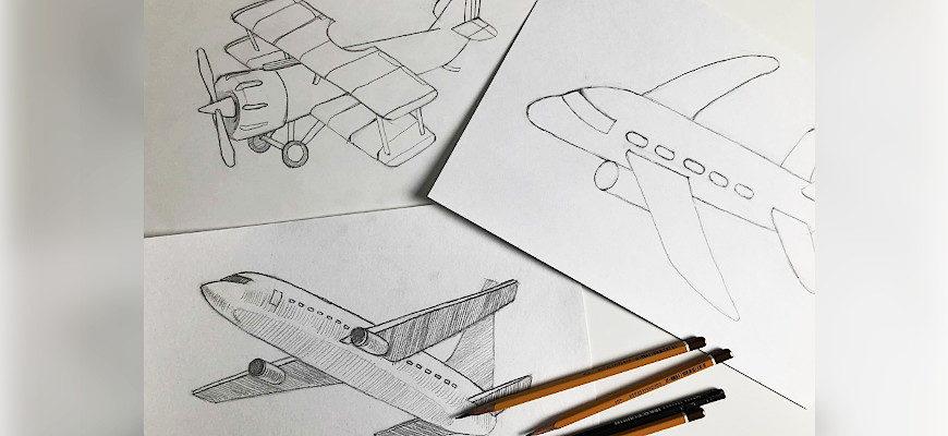 Как нарисовать самолет карандашом поэтапно - фото