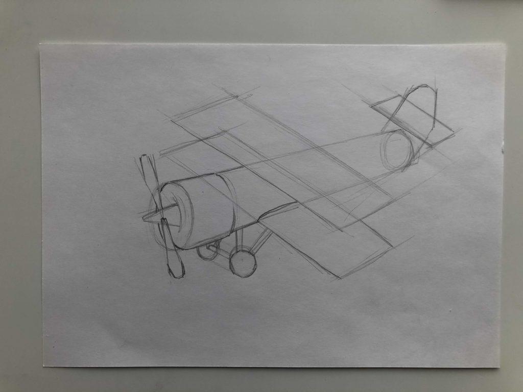 Как нарисовать самолет карандашом поэтапно - кукурузник 2 этап - фото