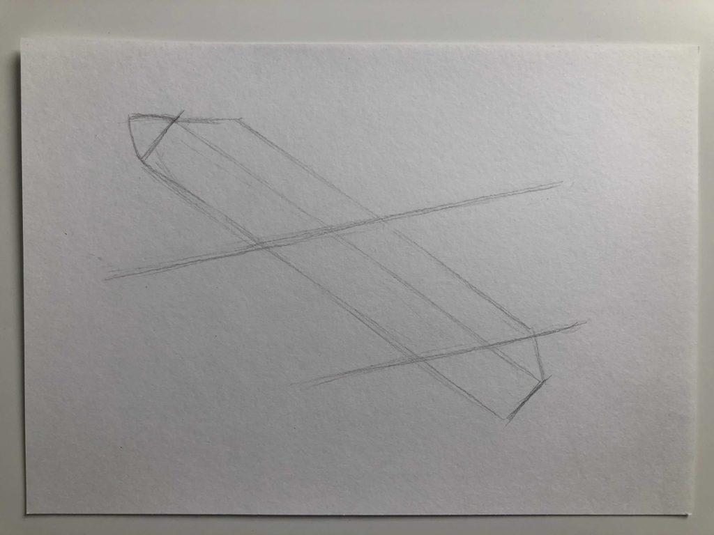 Как нарисовать самолет карандашом поэтапно - летящий самолет 1 этап - фото